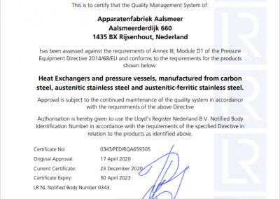 EG Conformiteitscertificaat module D1-2021
