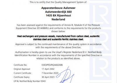 EG Conformiteitscertificaat module H-2021
